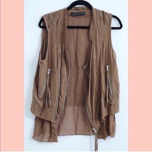 Zara olive green brown moto vest